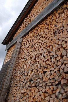 Tyrol wall of firewood, Austria