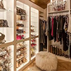 Closets - Glam Closet - Design photos, ideas and inspiration. Amazing gallery of interior design and decorating ideas of bedrooms, closets by elite interior designers. Glam Closet, Closet Bedroom, Walk In Closet, Closet Space, Master Closet, Modern Closet, Closet Doors, Bar Design, House Design