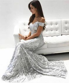 Mermaid Off-the-Shoulder Long Silver Prom Dress with Sequins, modest silver mermaid prom dresses, elegant off the shoulder evening gowns, unique party dresses