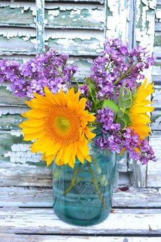 flowers.quenalbertini: Lilacs and sunflowers in a maison jar | My Painted Garden