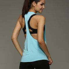 Summer Sexy Women Tank Top - Dry Quick Loose Sleeveless Vest - Gym, Fitness, Sport, Singlet for Running & Training