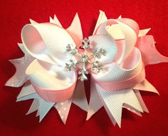 Pink White Winter Bow/Snowflake Girls Winter Hair Bow/Girly Curl Bow/Winter White Hair Bow/Toddler Bow/Holiday Girls Bow/Christmas Hair Bow by GirlyCurlBowtique on Etsy https://www.etsy.com/listing/256545394/pink-white-winter-bowsnowflake-girls