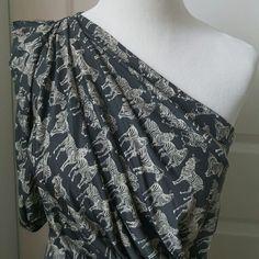 Grey zebra print one shoulder dress Adorable, sexy and unique one shoulder grey dress with white zebras all over - a literal zebra print ;-) Eva Franco Dresses One Shoulder