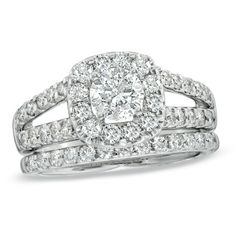 1-3/4 CT. T.W. Diamond Frame Split Shank Bridal Set in 14K White Gold