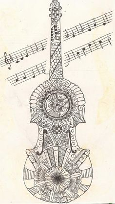 Zentangle Violin by VanessaHolanda