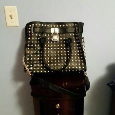 Black studded bag Black studded handbag with gold hardware. Brand new condition. Bags Satchels