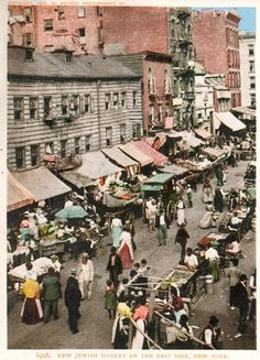 New Jewish Market on the East Side, New York. This grainy photography from the early 20th century provides an interesting look at a market in a Jewish community in New York.