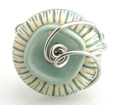 Vintage Wire Wrap Button Ring Mint Green by TrinketsNWhatnots, $25.00