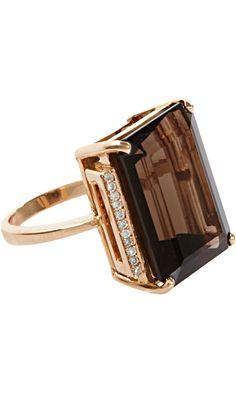 JACK VARTANIAN Smoky Quartz & Diamond Ring 18k Rose Gold Ring set with Emerald cut Smoky Quartz and .12ct. White Pave Diamond trim. 2,800 USD