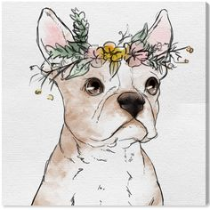 Floral Crowned Terrier By The Oliver Gal Artist Co. Canvas Art ($400) ❤ liked on Polyvore featuring home, home decor, wall art, nocolor, floral home decor, crown home decor, white wall art, crown wall art and canvas home decor