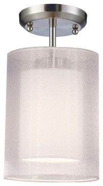 Z-Lite Nikko White Cylinder Semi-Flush Mounted Ceiling Light - contemporary - ceiling lighting - Pure Home