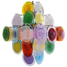 Multi-Color Murano Glass Chandelier | From a unique collection of antique and modern chandeliers and pendants at https://www.1stdibs.com/furniture/lighting/chandeliers-pendant-lights/
