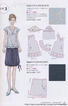 A-Line Blouse & Gatherd Skirt