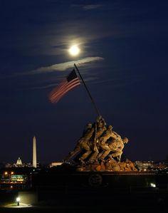 Moon over Marine Corps Memorial