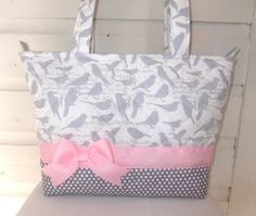 Quilted Gray Birds and Polka Dot Purse / Tote / by MsSewItAll32, $40.00