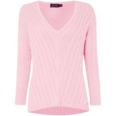 Polo Ralph Lauren Long sleeve v-neck side slit jumper ($190) ❤ liked on Polyvore featuring tops, sweaters, shirts, pink, women, v neck sweater, v neck long sleeve shirt, v neck shirts, cotton sweater and pink shirt