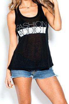 Fashion Addict Tank available at anaandelsa.com $16 with free shipping with promo code freeship1