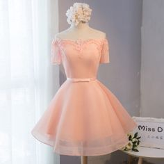 Beautiful A-line tulle short sleeve lace short prom dress,formal dresses