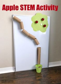 Apple STEM Activity for Preschoolers - - Do you enjoy picking apples in the fall? This apple stem activity for preschoolers will give you hours of fun with this Fall STEM Challenge for your child. Preschool Apple Theme, Fall Preschool Activities, Stem Preschool, September Preschool Themes, Preschool Apples, Apple Theme Classroom, Children Activities, Preschool Printables, Family Activities