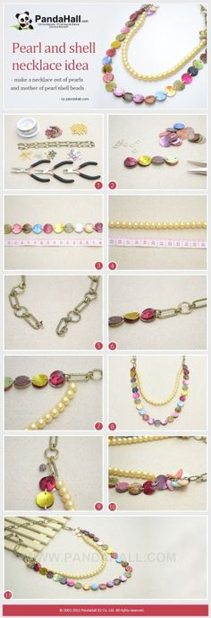 How to make a long necklace with pearls and ... | Jewelry Making Tuto�� by wanting