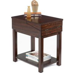 With a hinged top that folds out to reveal additional storage and surface area, this Chairside Table neatly melds form and function. It's sturdy construction and dark finish will make it a favorite accessory in your home for years to come.