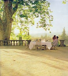 "Scene from the movie ""A Good Year."" I fell in love with this terrace overlooking the vineyard."