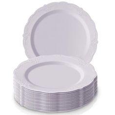 20 Dinner + 20 Salad Plates) EDI 40 White w//Gold Rim Disposable Plastic Plates