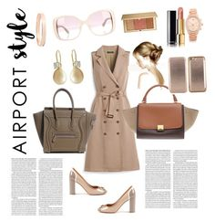 """Fly with me"" by regtika on Polyvore featuring White House Black Market, Chanel, Estée Lauder, Valentino, Salvatore Ferragamo, Ted Baker, Lana Jewelry, Michael Kors, GetTheLook and airportstyle"