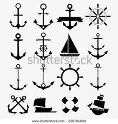 Flat design: anchor set of anchor symbols or logo template vector