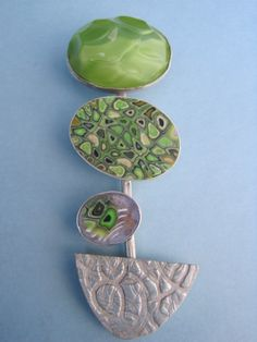 Vintage glass 1940, polymer, PMC and Sterling Silver
