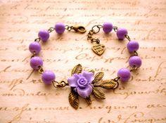 Items similar to Charm Flower Bracelet Leaf Bracelet Purple Beadwork Bracelet Bridesmaid Bracelet on Etsy