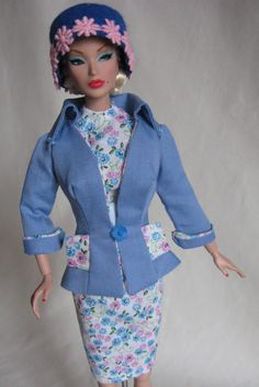 Blue floral cotton sheath dress with jacket (lined with the floral cotton) modeled by Victoire.