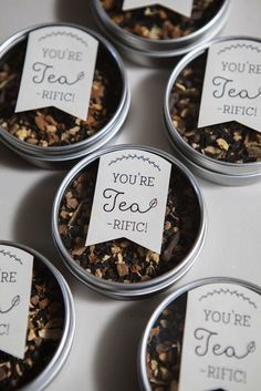 DIY Tea Tin Wedding Favors simply sweet idea. Just fill the tin with your favorite blend and finish with the cute free printable. Save time by using Avery Full-Sheet Labels for the adorable tag and then just cut peel and stick. No messy glue needed.