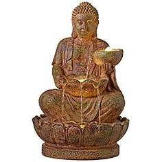Indoor-Outdoor LED Seated Light Stone Buddha Fountain