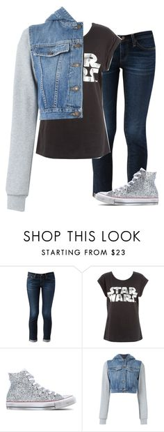 """What I would wear to watch StarWars7! -Grace"" by isongirls ❤ liked on Polyvore featuring AG Adriano Goldschmied, Converse and Moschino"