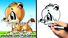 Drawing Tutorials - How to Draw a Lion Cub (Big Cats) - Cute Art - Cartoon Lion, Baby Cartoon, Cute Cartoon, Doodle Drawings, Cartoon Drawings, Animal Drawings, Draw Cute Baby Animals, Draw Animals, Wild Animals