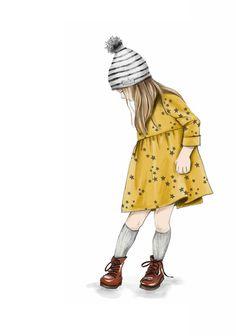 Fashion Illustration Tutorial, Children's Book Illustration, Children Sketch, Children Drawing, Little Girl Illustrations, Principe William Y Kate, Little Girl Drawing, Kids Prints, Fashion Sketches