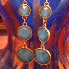 Blue, faux stone earrings Pierced ears, worn once, gold tone, acrylic stone Charming Charlie Jewelry Earrings