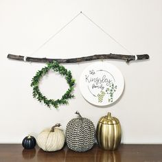 simple yet sweet! Stick hanger with petite boxwood wreath and fall decor Thanksgiving Decorations, Seasonal Decor, Holiday Decor, Autumn Inspiration, Home Decor Inspiration, Decor Ideas, Fall Room Decor, Modern Fall Decor, Boxwood Wreath