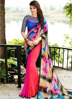 Pink #multicoloreddesigneprintedSaree #georgetteprintedsaree #printedsaree #sarees