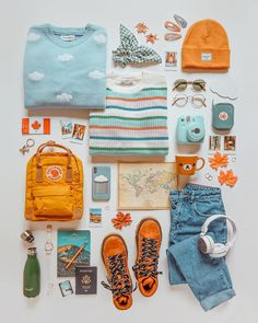 Currently enroute to our next destination✈️☁️💫 any guesses on where we're headed based on this flatlay? Other Outfits, Dope Outfits, Retro Outfits, Trendy Outfits, Fashion Outfits, Pastel Outfit, Fresh Shoes, Aesthetic Clothes, Girly Things