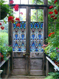 Stained glass window film (sticker material) from PURL Deco on old doors for a greenhouse.