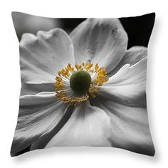 """Dreamy Japanese Anenome Honorine Joubert 4 Throw Pillow 14"""" x 14"""""""