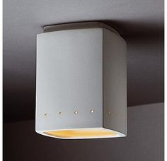 """Justice Design Group CER-6115W Single Light 8.5"""" Exterior Rectangle Flushmount Fixture Rated for Wet Locations from the Ceramic Collection"""
