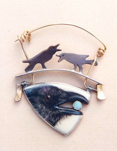"Ali Wieboldt | ""Crow Pin"" sterling silver, 14k gol… 