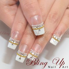 White French Nail Art Tip with Swarovski Rhinestones and Pearl and Metal Beads White French Nails, French Nail Art, French Tip Nails, French Tips, Rhinestone Nails, Bling Nails, Bling Bling, French Tip Nail Designs, Nail Art Designs