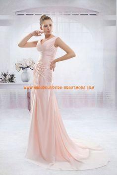 A-linie Schlichte Glamouröse Brautkleider aus Taft mit Schleppe