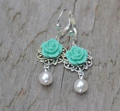 Turquoise Tiffany Blue Rose and White Swarovski Pearl by RusticGem