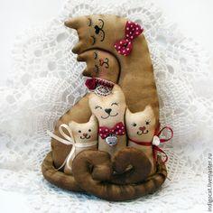 Купить Неразлучники. Семья. - коричневый, кофейная игрушка, кот, кошка, влюбленная пара, Влюбленные коты