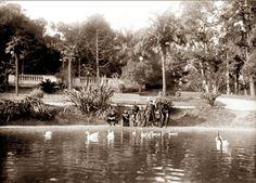 Lago artificial en el Prado 1919. Prado, Montevideo, Uruguay.